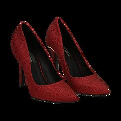 Décolleté rosse in glitter, tacco 11 cm , Scarpe, 142146861GLROSS036, 002 preview