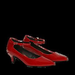 Décolleté rosse kitten heels in vernice, tacco 3 cm, Primadonna, 124951721VEROSS036, 002a