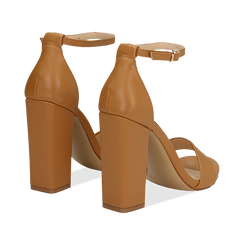 Sandali minimal cuoio in eco-pelle, tacco 10,5 cm , Sandali con tacco, 132133791EPCUOI035, 004 preview