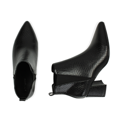 Ankle boots neri stampa vipera, tacco 6 cm , Primadonna, 164931531EVNERO036, 003 preview