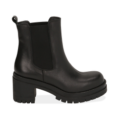 Chelsea boots neri in pelle di vitello, tacco 7,5 cm , Primadonna, 168900643VINERO038, 001 preview