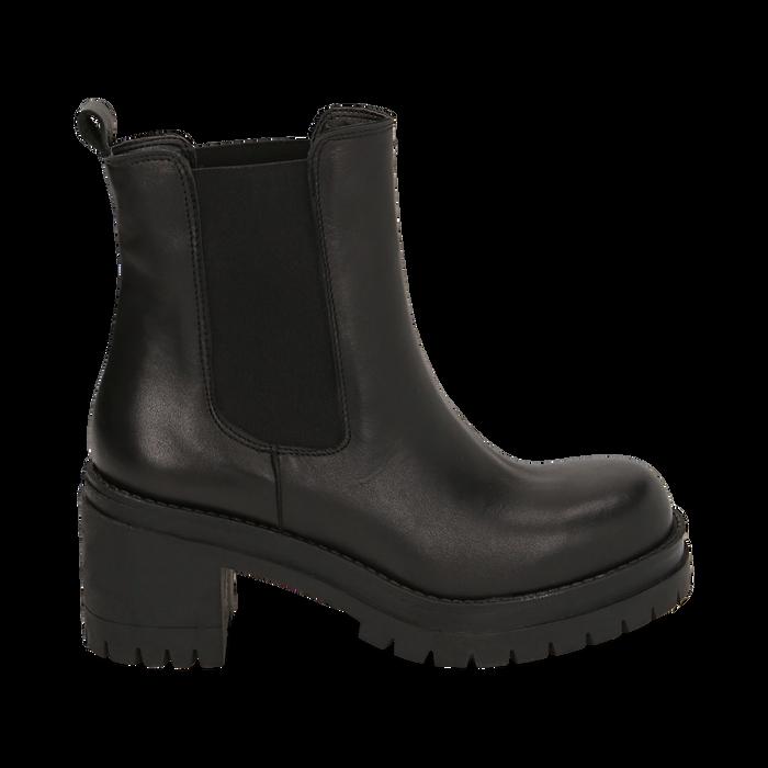 Chelsea boots noires en cuir de veau, talon 7,5 cm, Primadonna, 168900643VINERO036