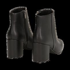 Ankle boots neri in eco-pelle, tacco 7, 50 cm , Stivaletti, 142762715EPNERO036, 004 preview