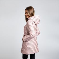 Piumino lungo rosa nude con cappuccio, Saldi, 128500502TSNUDE, 003 preview