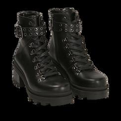 Hiking boots neri in eco-pelle, tacco 6 cm , Stivaletti, 142828201EPNERO035, 002a