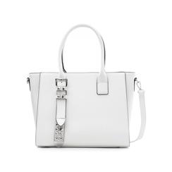 Borsa grande bianca in eco-pelle con borchie,