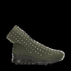 Sneakers verdi slip-on in lycra con cristalli, Primadonna, 122808611LYVERD035, 001a