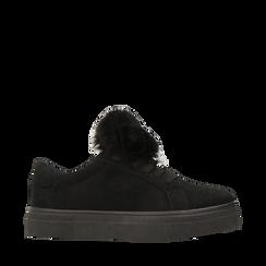 Sneakers nere con pon pon in eco-fur, Scarpe, 121081755MFNERO035, 001a