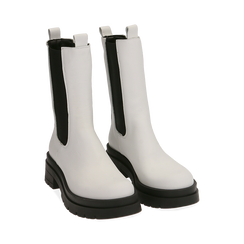 Chelsea boots bianchi in pelle, Primadonna, 167277044PEBIAN035, 002 preview