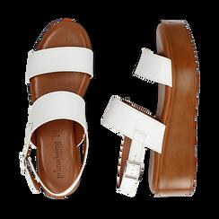 Sandali platform bianchi in eco-pelle, zeppa 5 cm , Saldi, 13A133254EPBIAN036, 003 preview