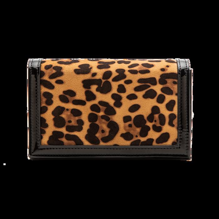 Pochette leopard in microfibra scamosciata con tracolla, Borse, 123308936MFLEOPUNI