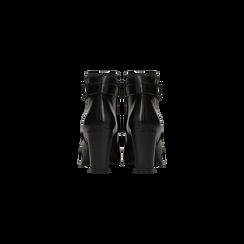 Tronchetti neri in vera pelle con cinturino, tacco 6 cm, Scarpe, 127718308PENERO, 003 preview