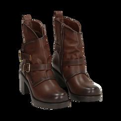 Biker boots cuoio con fibbie in eco-pelle, tacco 7 cm , Scarpe, 143091353EPCUOI, 002 preview