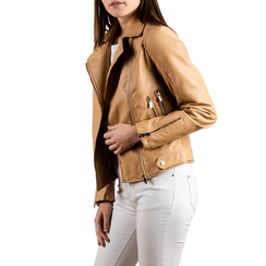 Biker jacket beige in eco-pelle, NUOVI ARRIVI, 156507781EPBEIGL, 001 preview