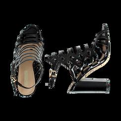 Sandali neri in vernice con motivi geometrici, tacco 10,5 cm , Primadonna, 132706081VENERO035, 003 preview