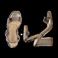 Sandali canna di fucile in eco-pelle, tacco trapezio 10,50 cm, Sandali con tacco, 132165612LMCANN035, 003 preview