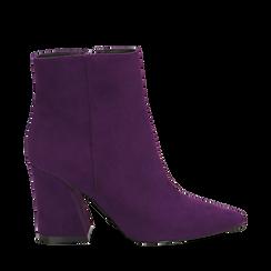 Ankle boots viola, tacco trapezio 8,5 cm, Scarpe, 144961020MFVIOL035, 001a