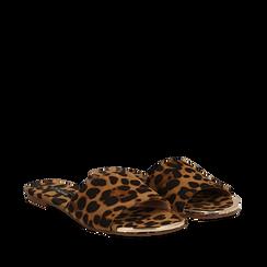 Mules flat leopard in microfibra, Saldi Estivi, 134989113MFLEOP035, 002a