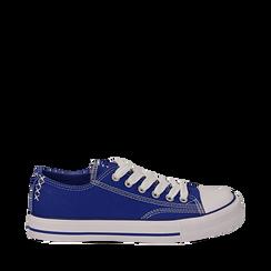 Sneakers blu in canvas, Scarpe, 137300862CABLUE035, 001a