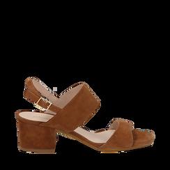 Sandali cuoio in camoscio, tacco chunky 6 cm, Saldi, 13D602056CMCUOI035, 001a