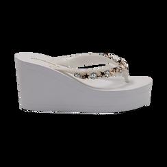 Zeppe infradito bianche in pvc, zeppa 8,50 cm, Saldi Estivi, 13C119507PVBIAN037, 001 preview