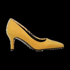 Décolleté scamosciate gialle con punta affusolata, tacco medio 7,5 cm, Scarpe, 122111552MFGIAL, 001 preview