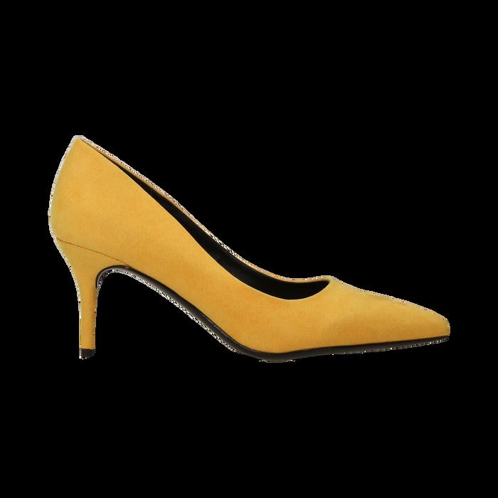 Décolleté scamosciate gialle con punta affusolata, tacco medio 7,5 cm, Scarpe, 122111552MFGIAL