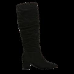 Stivali neri scamosciati con gambale drappeggiato, tacco quadrato medio 5 cm, Primadonna, 122707419MFNERO036, 001 preview