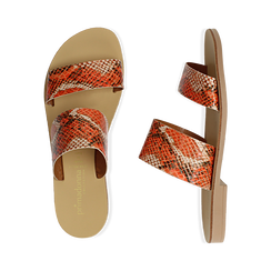 Mules flat arancio in vernice effetto snake skin, Primadonna, 136767003PTARAN036, 003 preview