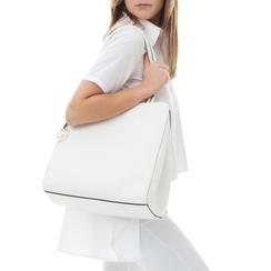 Maxi-bag bianca in eco-pelle ,