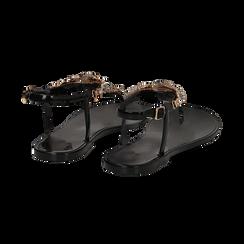 Sandali infradito neri in pvc con strass, Primadonna, 130900001PVNERO036, 004 preview