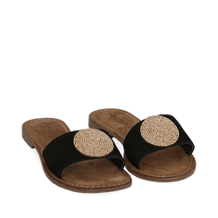 Ciabatte nere in camoscio , Chaussures, 15K808250CMNERO035, 002a