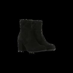 Tronchetti neri in vero camoscio, tacco quadrato 5 cm, Primadonna, 129809845CMNERO, 002 preview