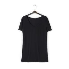 T-shirt con scollo a V nera in tessuto, Saldi Estivi, 13F750713TSNEROL, 001a