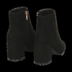 Ankle boots neri in microfibra, tacco 7,5 cm , Stivaletti, 142762715MFNERO035, 004 preview