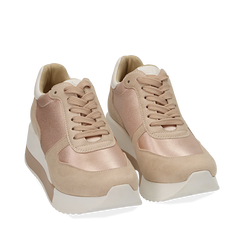 Dad shoes nude in raso, Sneakers, 152821511RSNUDE035, 002a