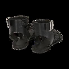 Sandali neri in pelle intrecciata, Zapatos, 156707446PINERO036, 004 preview