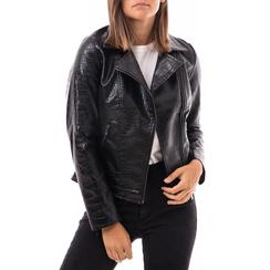 Biker jacket nera in eco-pelle effetto snake, Abbigliamento, 146582591EVNERO3XL, 001a