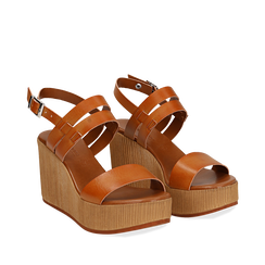 Sandali platform cuoio in eco-pelle, zeppa 8 cm , Primadonna, 13C700259EPCUOI035, 002a
