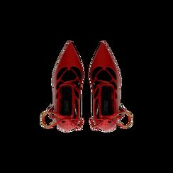 Décolleté rosse con lacci sul collo del piede, tacco stiletto 10 cm, Primadonna, 122166011EPROSS, 004 preview