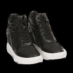 Sneakers nere in eco-pelle, zeppa interna 7 cm, Scarpe, 142008353EPNERO035, 002a