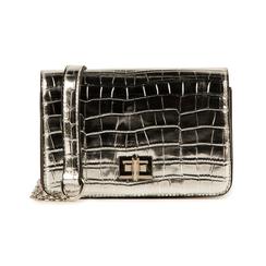 Bolso pequeño en eco-piel con estampado de cocodrilo color plateado, Bolsos, 155701124CCARGEUNI, 001 preview