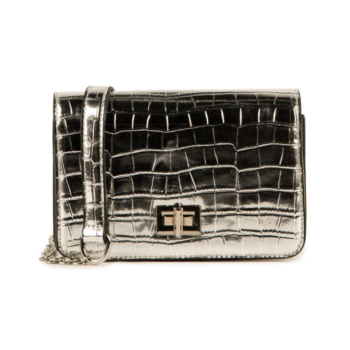 Bolso pequeño en eco-piel con estampado de cocodrilo color plateado, Bolsos, 155701124CCARGEUNI