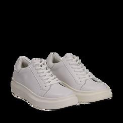 Sneakers bianche in eco-pelle con suola flat, Scarpe, 132019051EPBIAN035, 002a