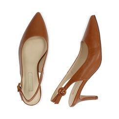 Slingback cognac, tacón 7 cm, Zapatos, 172133673EPCOGN037, 003 preview