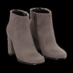 Ankle boots grigi in microfibra, tacco 9 cm , Stivaletti, 142708221MFGRIG035, 002 preview