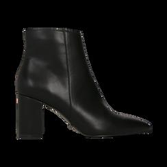 Tronchetti neri con punta affusolata, tacco 7,5 cm, Scarpe, 128485161EPNERO, 001 preview