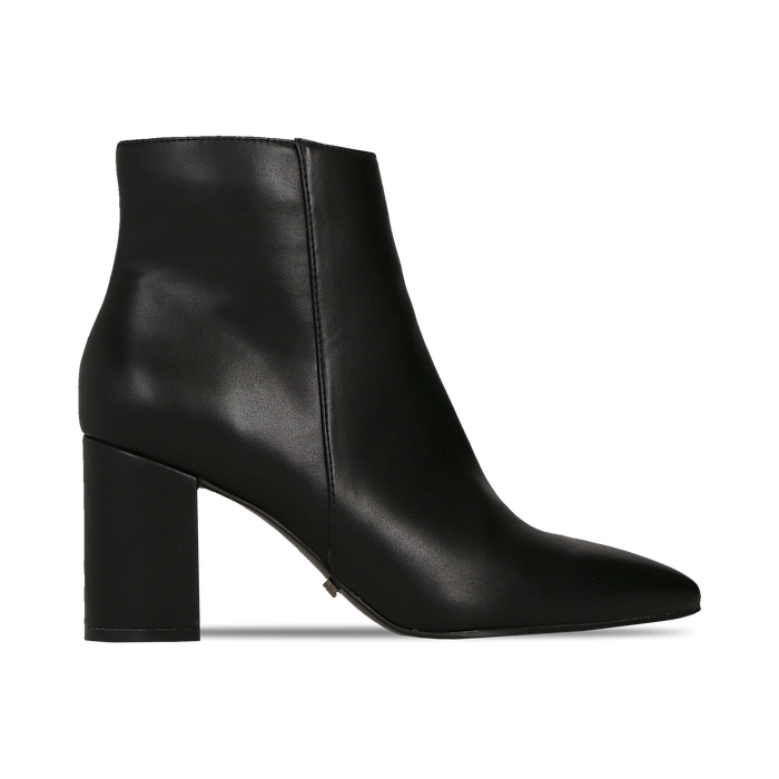 Tronchetti neri con punta affusolata, tacco 7,5 cm, Scarpe, 128485161EPNERO