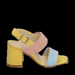 Sandalo multicolor in microfibra, tacco 8 cm, Sandali con tacco, 136100005MFCELE036, 001a