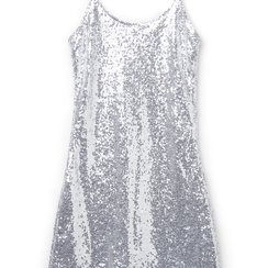 Mini-dress argento in tessuto e paillettes ,